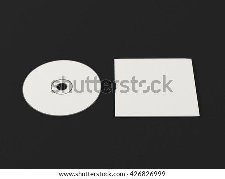 CD disc and carton packaging cover template mock up. Digipak case of cardboard CD drive. With white blank for branding design or text. Isolated on black background. High resolution 3d illustration. - stock photo