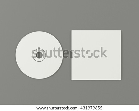 CD disc and carton packaging cover template mock up. Digipak case of cardboard compact disc. With white blank for branding design or text. Isolated on gray background. High resolution 3d illustration. - stock photo