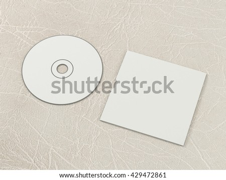 CD disc and carton packaging cover template mock up. Pack case of cardboard CD drive. With white blank for branding design or text. Isolated on leather background. High resolution 3d illustration.