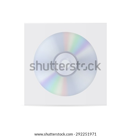 CD disc and envelope. isolated on white background. Raster version