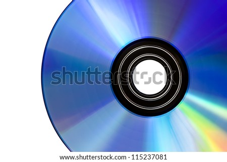 CD disk detail, isolated on white background - stock photo