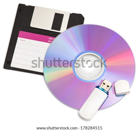 cd disks floppy and flash drive on white background - stock photo