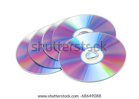 cd disks on a white background - stock photo