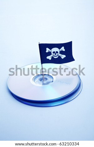 CD, DVD and Pirate Flag, concept of Piracy