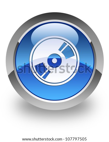 CD / DVD / Blu-ray icon on glossy blue round button - stock photo