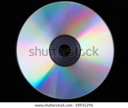 cd dvd disc over black background, computers - stock photo