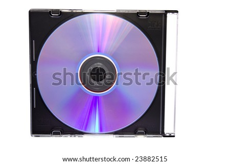 CD, DVD in box isolated on white