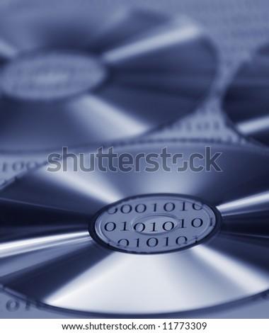 CD, DVD on digital base - stock photo