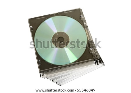 cd dvd piled up on white background - stock photo