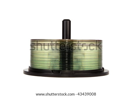 CD / DVD spindle over white background - stock photo