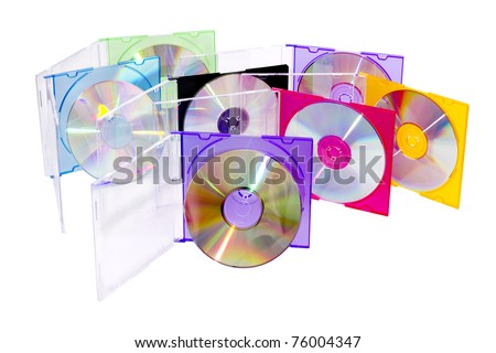 CD in the disclosed colored boxes set vertically - stock photo