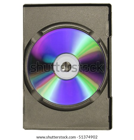 CD or DVD case, for music data video recording support - isolated over white background