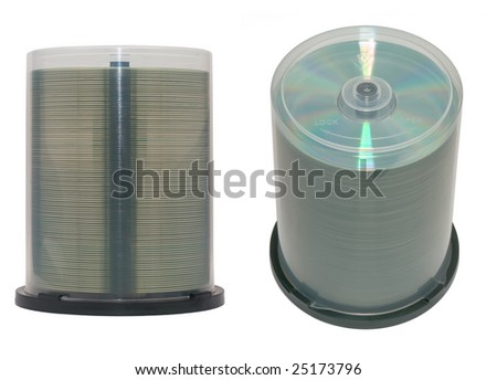 CD or DVD discs on a spindle. Isolated. - stock photo