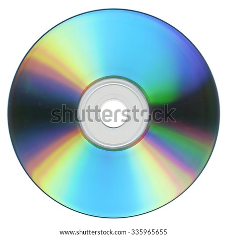 CD or DVD for music data video recording isolated over white background