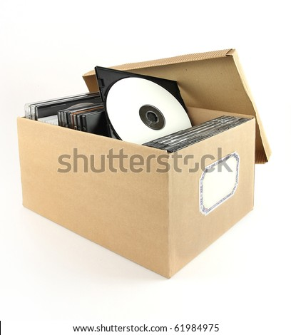CD or DVD in a cardboard box  with space for text - stock photo