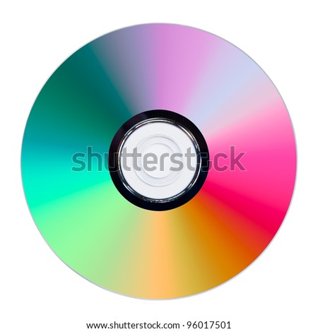 CD or DVD on white background, data side surface - stock photo