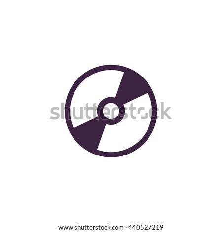 CD or DVD. Simple blue icon on white background - stock photo