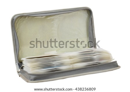 CD or DVD storage bag isolated on white background - stock photo
