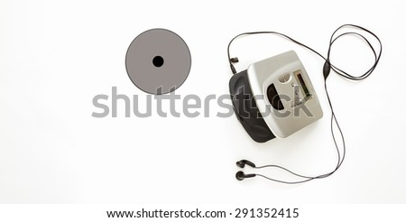CD player on white background for listen and design. - stock photo
