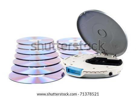 CD-Player with compact disks. White background. Studio shot. - stock photo