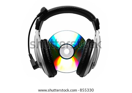 Cd-rom and headphone. - stock photo
