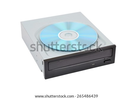 CD-rom drive and compact disk, isolated on white background - stock photo