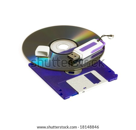 cd rom dvd,floppy disk ,and usb key isolated on white background - stock photo