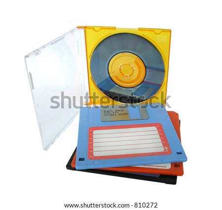 CD-RW and floppy disks isolated on white - stock photo