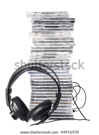 Cd`s and Headphones isolated in white background