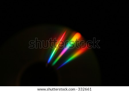 CD, somewhere  between reflexion and refraction. Black background