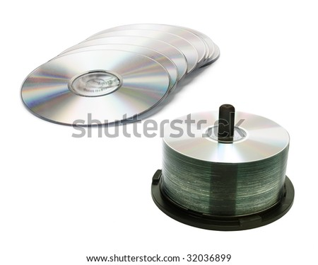 CD Spindle on white Background - stock photo