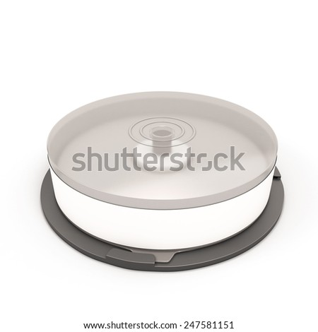 CD Stack case plastic spindle closed isolated on white background. Empty blank CD case. 3d render image.