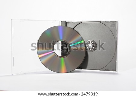 CD with Case on White - stock photo