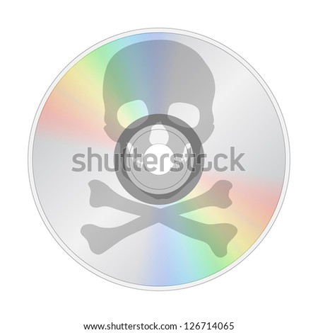 CD with illustration of skull and bones, stop piracy, isolated on white background - stock photo