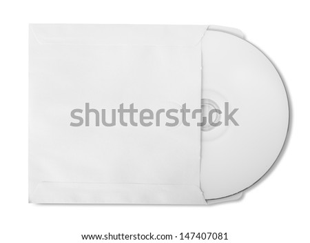 CD with paper bag isolated on white background - stock photo