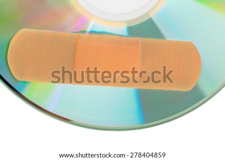 CD with software patch isolated on white background - stock photo