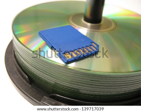 Cds and usb devise with Camera SD card - stock photo