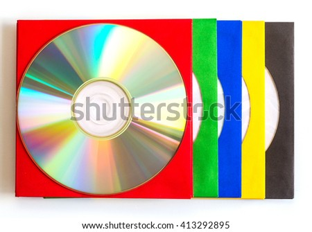 CDs / DVD, envelopes for disks  on white background, technologies