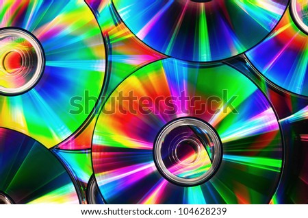 CDs with rainbow colors - stock photo