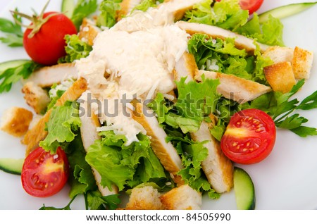 Ceasar salad served in the plate - stock photo