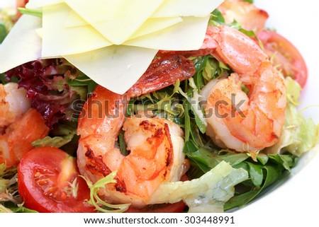 Ceasar Salad with Shrimp - stock photo