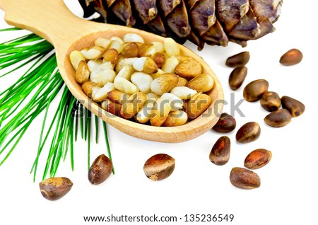 Cedar nuts and bump, cedar nut kernels in a wooden spoon and a green sprig of cedar isolated on white background - stock photo