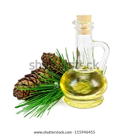 Cedar oil in a glass bottle, a sprig of cedar with two cones isolated on white background - stock photo