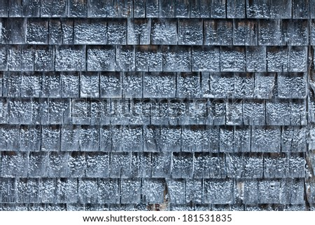 Cedar Shingles with Snow during a cold Winter Day - stock photo