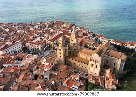 Cefalu cathedral, Sicily island in Italy. Aerial view of beautiful Mediterranean town. Province of Palermo.
