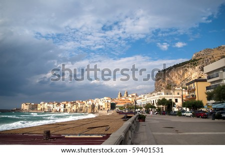 Cefalu, Sicily island in Italy. In the background: huge rock, La Rocca
