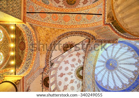 Ceiling and dome of The Sultan Ahmed Mosque, known as the Blue Mosque, Istanbul, Turkey - stock photo