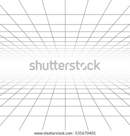Ceiling and floor perspective grid lines, architecture wireframe. Infinity checkered tiled illustration.