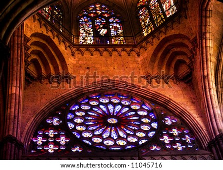 Ceiling and Stained Glass Windows, Temple of Atonement, Templo Expiatorio, Guadalajara, Mexico - stock photo