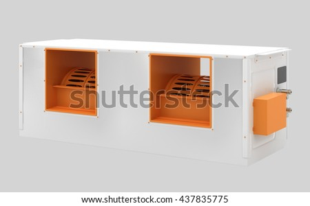 Ceiling ducted air conditioner. Isolated with clipping path. 3d render